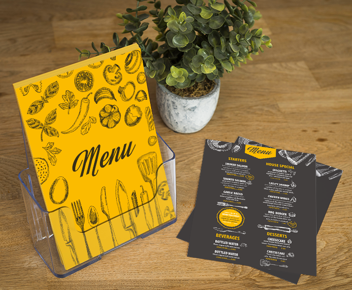Uncoated flyer restaurant menu