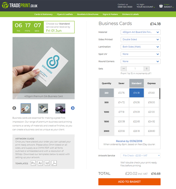 Tradeprint Product Page