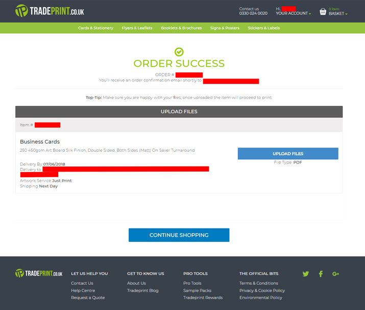 Tradeprint order complete